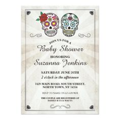 #Baby Shower Party Sugar Skull Party Invite - couples shower invitations #showerinvitation #shower #weddinginvitations #wedding #invitations #party #card #cards #invitation #couple