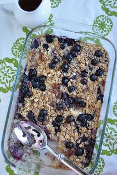 Baked banana and blueberry oatmeal. Original pinner writes :  I subsituted almond milk for milk, and unsweetened applesauce for the butter.  5 WW pointsplus for 1 serving.  I divided mine into 6 servings by spooning into a 6 muffin- muffin pan.  Froze, quick zap in the microwave in the morning!4 servings 4 servings 6 pts with nuts and 4 without