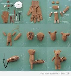 squirrel made from a glove, CLEVER!