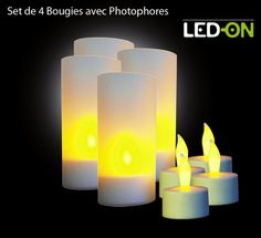 Set de de 4 Bougies Leds, Design by LED-On