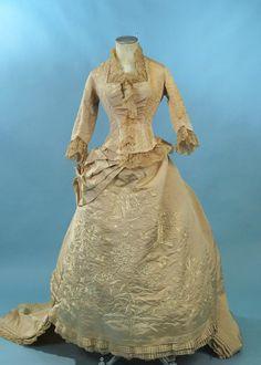1870's silk faille wedding gown.