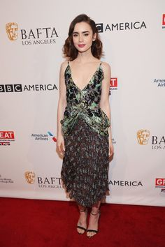 Actress Lily Collins attends the BAFTA Tea Party at Four Seasons Hotel Los Angeles.