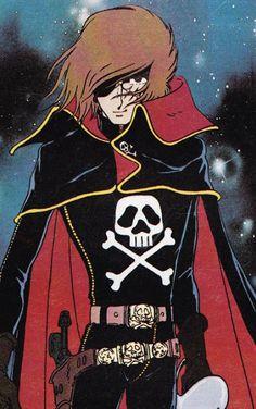 Space Pirate Captain Harlock, Manga Anime, Old Anime, Comics Illustration, Illustrations, Nausicaa, Gothic Anime, Manga Artist, Classic Cartoons