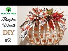 Dollar Tree Pumpkin Wreath DIY #2 - YouTube