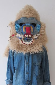 by Shin Murayama Animal Masks, Animal Heads, Charles Freger, Fancy Dress, Dress Up, Fashion Foto, Textiles, Masks Art, Arte Popular