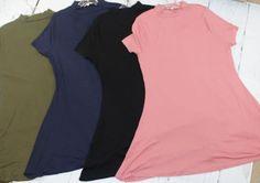 Plus Size Mock Neck Tunics *Multiple Colors* Boutique Clothing, Fashion Boutique, Tunics With Leggings, Mock Neck, Short Sleeve Dresses, Plus Size, Colors, Tees, Shopping