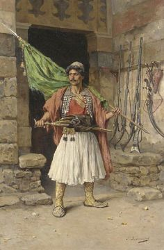 The Greek sentinel - Paul Joanovitch (Austrian, Oil on Canvas Costume Ethnique, Albanian Culture, Jean Leon, Greek Paintings, Greek Warrior, Medieval Armor, Inspirational Artwork, Painting Videos, Military Art