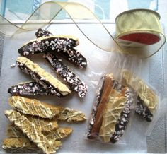 Edible Gift Recipe: Chocolate-Dipped Peppermint and Pumpkin Walnut Biscotti
