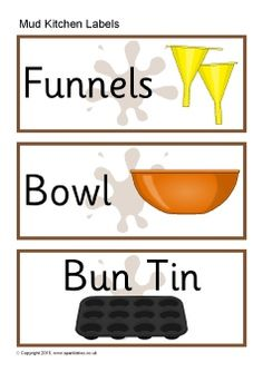 Printable equipment labels for your outdoor 'mud kitchen' Kitchen Labels, Kitchen Signs, Printable Labels, Printables, Preschool Labels, Mud Kitchen, Kitchen Ideas, Free Teaching Resources, Outdoor School