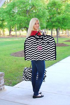 Personalized Chevron Garment Bags / Luggage / Carry All / Travel-- 3 Chevron Colors -Great  Gift Idea