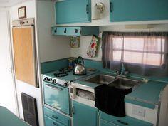 Aqua travel trailer kitchen