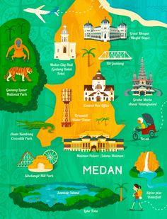 Wesley Robins - Map of Medan, Indonesia for Garuda Airlines