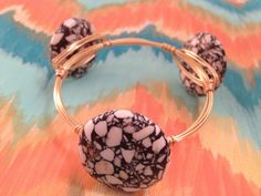 Wire wrapped stone gold bangle by KarlieBs on Etsy