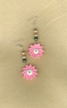 CHEAPLY PRICED. $7.55. FREE NECKLACE WITH EVERY PURCHASE! Silver-Plated / Stainless Steel / Glass Pearl Earrings with Polymer Clay Pendants - Genuine Czech Rhinestones in Centre of Pendants.  https://www.etsy.com/ca/shop/JehovahJJewellery?ref=si_shop