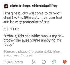 I'm here for the Bucky and Shuri surrogate family.
