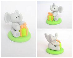 Birthday Elephant Cake Topper Custom Polymer Clay by Linnypigs