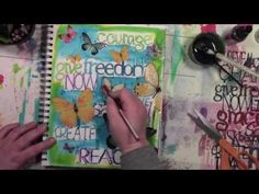 Artsy Fartsy art journal play with spray ink and a stencil. Stencil by StencilGirl. Video by Carolyn Dube.