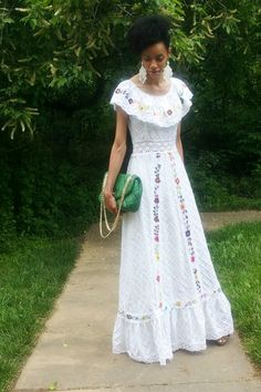Discover This Look Wearing Turquoise Blue Purses White Dresses Vintage Mexican Dress By Cornercurl Styled For Dinner In The Spring