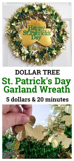 Completed and pinnable Dollar Tree St. Patrick's Day Garland Wreath with gold clover center St. Patrick's Day Diy, St Patrick's Day Decorations, Diy Birthday Decorations, Japan Design, St Patrick's Day Crafts, Holiday Crafts, Holiday Wreaths, Holiday Ideas, Wreath Crafts