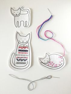 Catdays sewing pictures print pattern - Easy Crafts for All Sewing Projects For Kids, Sewing For Kids, Crafts For Kids, Arts And Crafts, Paper Crafts, Sewing Art, Sewing Crafts, Diy With Kids, 4th Grade Art