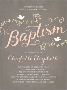 Faithful Flight Girl Baptism Invitation like what this one says