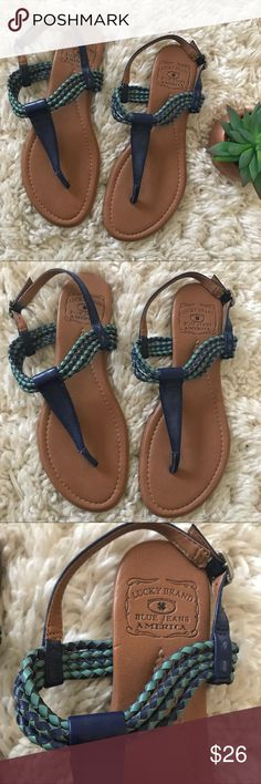 Lucky Brand • Ankle Strap Sandals • Lucky Brand  • Ankle strap sandals • Blue twisted straps • Buckles • Size 7.5 • Good condition other than wear on soles, as shown  🌸 No trades. 15% off when you bundle at least two items from my closet. 🌸 Lucky Brand Shoes Sandals