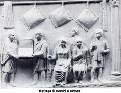 Scambio e Consumo in epoca romana bottega di cuscini e cinture