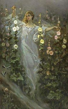 "windypoplarsroom:  Wilhelm Kotarbinski ""Girl between hollyhocks"""