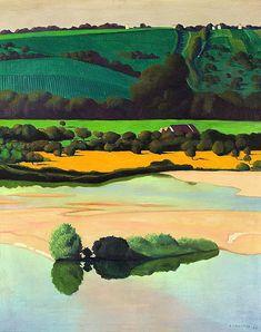 """fleurdulys: """" Un soir sur la Loire - Felix Vallotton 1923 """" Felix Vallotton (Swiss, Pierre Bonnard, Lausanne, Abstract Landscape, Landscape Paintings, John Everett Millais, Avant Garde Artists, Edouard Vuillard, Art Graphique, Loire"""