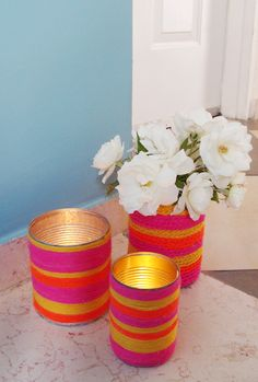 DIY Luminaries from Recycled Cans for Candle Impressions Flameless Tea Lights