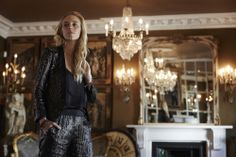 Personal shopper, Sophie, channels Kate's scene-stealing party style with a slick trouser suit.