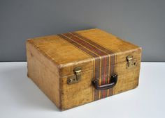 Antique Striped Suitcase  Square by thewhitepepper on Etsy, $115.00
