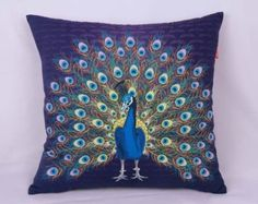 Fablegent Elegant Decorative Throw Pillow / Cushion Cover - Peacock Design - FS29