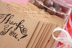 DIY Favor Bags - for a candy bar? just use brown bags, a cool punch and a stamp