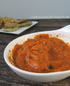 Crispy Grain-Free Zucchini Coins with Roasted Red Pepper Dipping Sauce