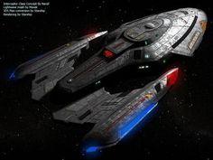 The Interceptor-class was a Federation assault cruiser that entered service in Spaceship Art, Spaceship Design, Vaisseau Star Trek, Akira, John 117, Science Fiction, Starfleet Ships, Starship Concept, Sci Fi Spaceships