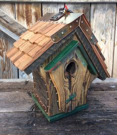 The Chalet Birdhouse is made from authentic reclaimed barnwood obtained near my home in Western Wyoming in the Valley of Grand Teton National Park. My forest home is the inspiration for my unique one of a kind functional Birdhouses. My Birdhouses are made to specification for all