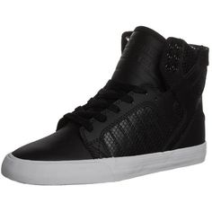 Supra SKYTOP Hightop trainers/white (195 PEN) ❤ liked on Polyvore featuring shoes, sneakers, chaussures, sapatos, zapatos, black, white leather shoes, white high top sneakers, black sneakers and white flat shoes