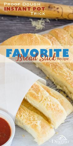 These Breadsticks won't last long because they are so good.  Good news, is they are also super easy too. Delicious crusty bottom that is to die for. Perfectly Proofed dough in the Instant Pot or Pressure Cooker making the bread sticks light and fluffy. Serve with a nice side of marinara dipping sauce you can have yourself an amazing weekend snack. #devourdinner #devourpower #breadstick #breadstickrecipe #bread #instantpot #instantpotrecipe #breadrecipe #easybreadrecipe #easyrecipe Yeast Bread Recipes, Quick Bread Recipes, Easy Dinner Recipes, Baking Recipes, Easy Meals, Party Recipes, Kitchen Recipes, Fluffy Bread Recipe, Traditional Bread Recipe