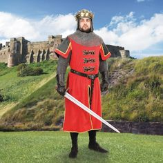 This red velvet Lionheart tunic has the three lions coat of arms to the front, faux leather on the collar and short over-sleeves. Medieval Knight Costume, Medieval Tunic, Viking Tunic, King Richard I, Knight Outfit, Mens Tunic, Great King, Costume Collection, Renaissance Fair