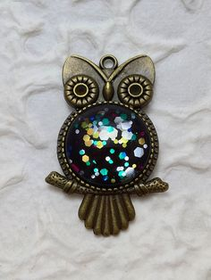 Owl necklace, Multi color Glitter Owl shaped Pendant,  Nail polish Jewelry Gift For Her