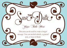 Sky Blue and Chocolate Brown Save the date card by HoneyBops on pingg