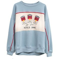 Crew Neck Pepper Pot Graphic Sweatshirt (165 GTQ) ❤ liked on Polyvore featuring tops, hoodies, sweatshirts, graphic sweatshirts, crewneck sweatshirt, blue sweatshirt, crew neck tops and graphic crew neck sweatshirts