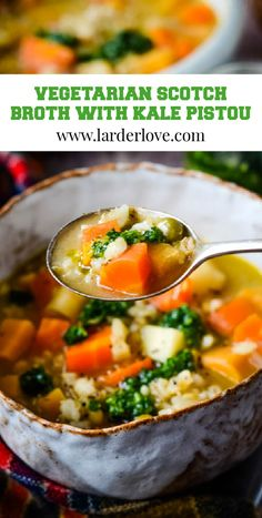 Vegetarian Scotch broth with kale pistou is a super healthy version of a Scottish classic #scotchbroth #soup #vegetariansoup #vegetarianrecipes #vegetarianscotchbroth #kale #pistou #larderlove Vegetarian Soup, Vegetarian Recipes, Healthy Recipes, Scotch Broth, Chilled Soup, Scottish Recipes, Kale, Recipes