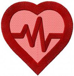 Heart cardio symbol embroidery design. Machine embroidery design. www.embroideres.com