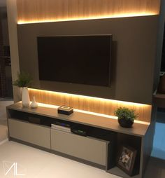 #alarquitetura #painel #paineltv #salatv #led #lighting Living Room Wall Units, Living Room Tv Unit Designs, Ceiling Design Living Room, Room Door Design, Tv Wall Design, Home Room Design, Modern Tv Unit Designs, Modern Tv Wall Units, Tv Unit Interior Design