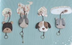 PDF Pattern Set of animal key cover coverring holder purse bag keep cotton sewing quilt applique patchwork art gift Felt Crafts, Fabric Crafts, Crafts To Make, Sewing Crafts, Arts And Crafts, Quilting Projects, Sewing Projects, Costura Diy, Fabric Animals