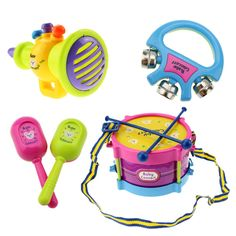 $10.59 - Awesome 5pcs Educational Baby Kids Roll Drum Musical Instruments Band Kit Children Toy Baby Kids Gift Set - Buy it Now!