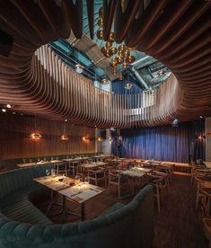 """Studio Hermes"" restaurant/club designed by Corvin Cristian in Bucarest #sixties #restaurantdesign"