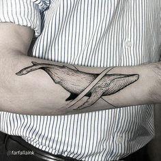 Whale tattoo by @farfallaink